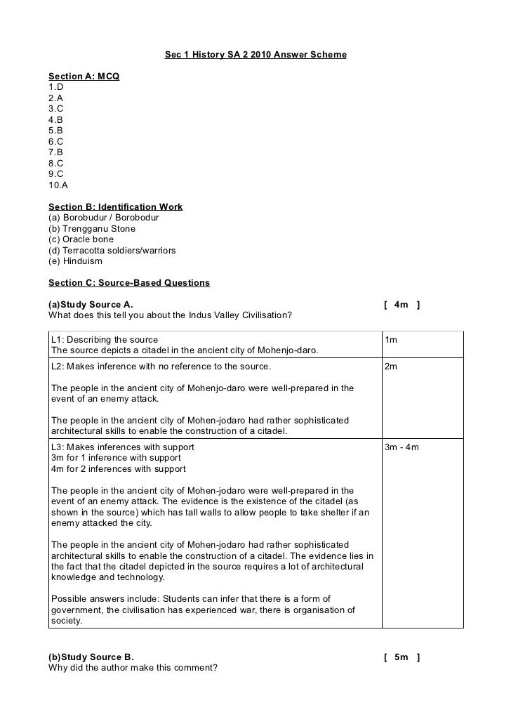 Sec 1 History SA 2 2010 Answer SchemeSection A: MCQ1.D2.A3.C4.B5.B6.C7.B8.C9.C10.ASection B: Identification Work(a) Borobu...
