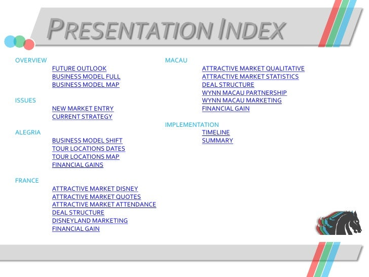 PRESENTATION INDEX OVERVIEW                                  MACAU            FUTURE OUTLOOK                          ATTR...