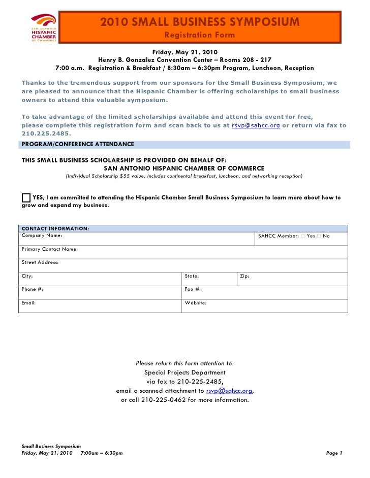 2010 SMALL BUSINESS SYMPOSIUM                                                             Registration Form               ...