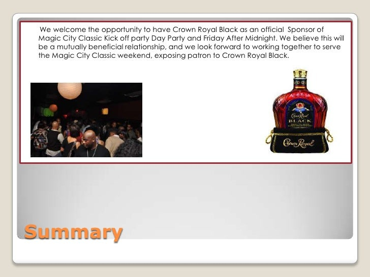 2010 Sponsorship Proposal For Crown