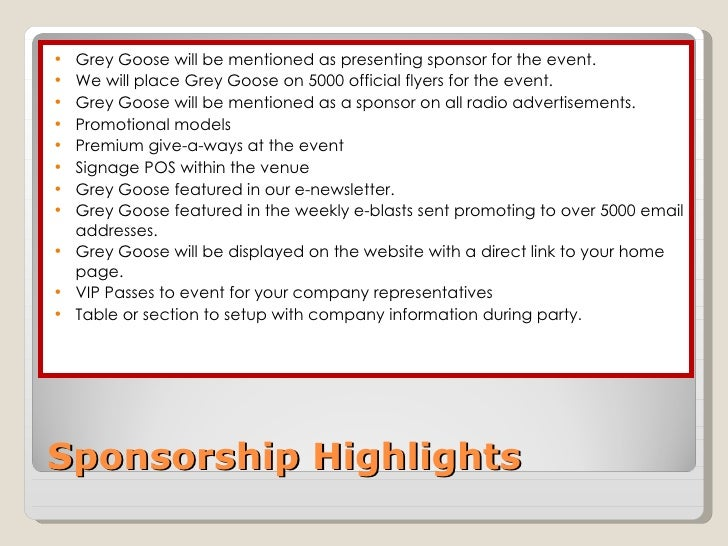 2010 Sponsorship Proposal For Goose