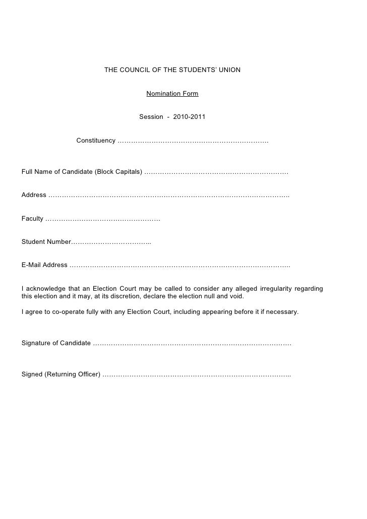 letter of representation 2010 src elections nomination form blank 1420
