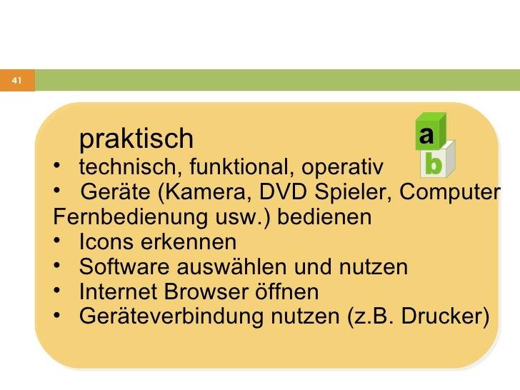<ul><li>praktisch  </li></ul><ul><li>technisch, funktional, operativ </li></ul><ul><li>Geräte (Kamera, DVD Spieler, Comput...