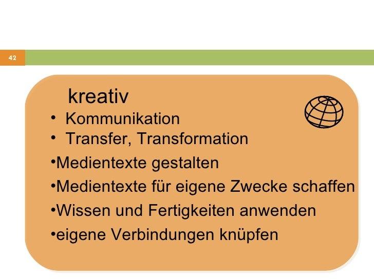 <ul><li>kreativ </li></ul><ul><li>Kommunikation </li></ul><ul><li>Transfer, Transformation </li></ul><ul><li>Medientexte g...