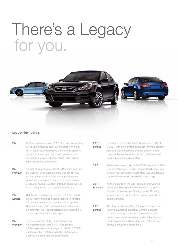 There's a Legacy for you.     Legacy Trim Levels   2.5i      Performance and value. A 170-horsepower engine         2.5GT ...