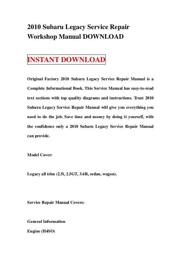 2010 subaru legacy service repair workshop manual download rh slideshare net 2010 subaru forester service manual pdf 2010 subaru wrx service manual