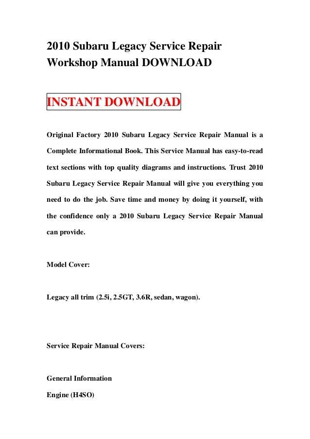 Official Workshop Service Repair Manual Subaru Legacy Manual Guide