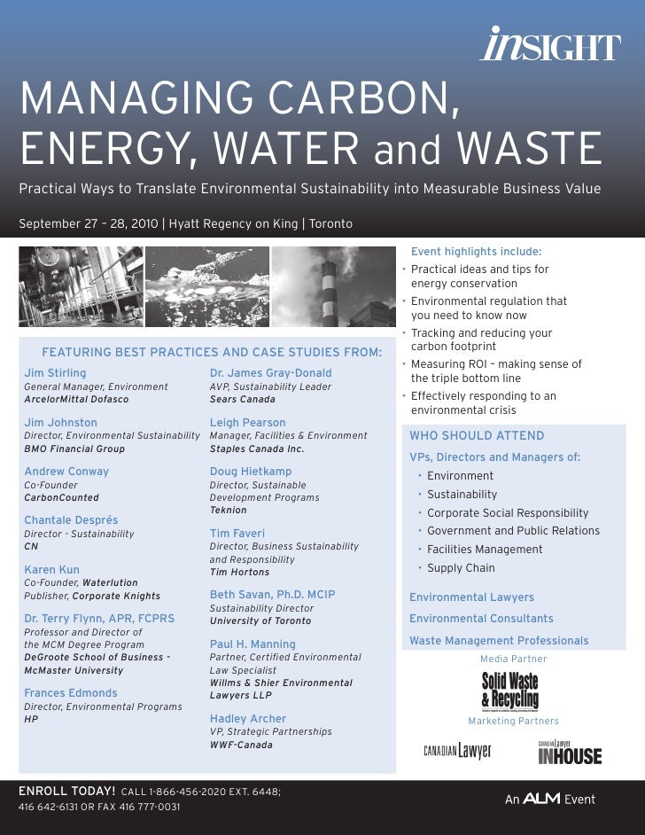 MANAGING CARBON, ENERGY, WATER and WASTE Practical Ways to Translate Environmental Sustainability into Measurable Business...