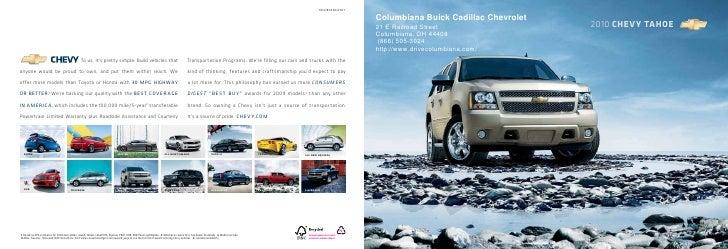2010 Columbiana Buick Cadillac Chevrolet Tahoe Youngstown OH. 10CHETAHCAT01  .