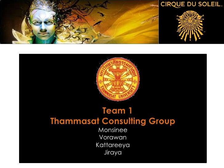Team 1 Thammasat Consulting Group           Monsinee           Vorawan          Kattareeya            Jiraya