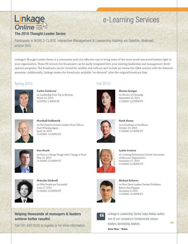 e-Learning Services The 2010 Thought Leader Series Participate in WORLD-CLASS, interactive Management & Leadership trainin...