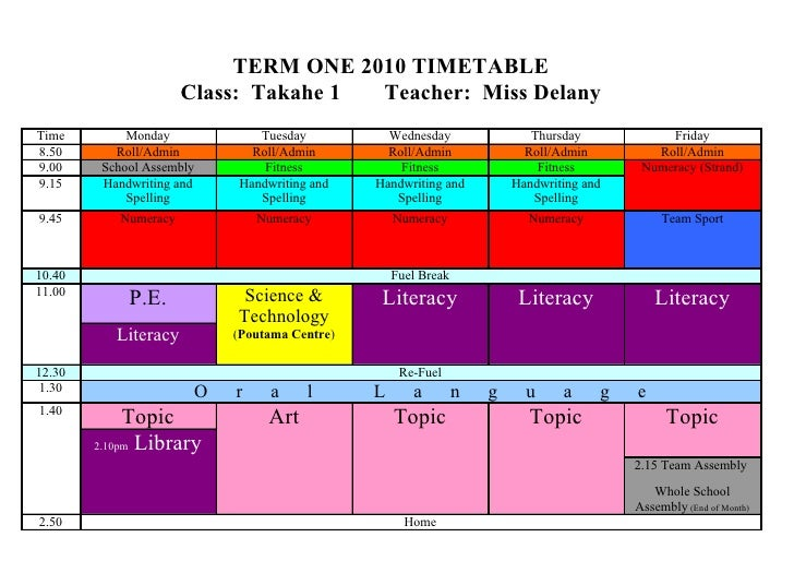 TERM ONE 2010 TIMETABLE                      Class: Takahe 1 Teacher: Miss Delany Time        Monday           Tuesday    ...