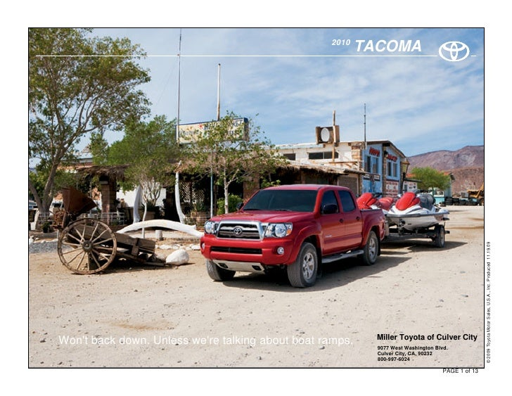 Tacoma Back Pages >> 2010 Toyota Tacoma Culver City