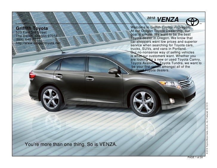 2010                                                                 VENZA Griffith Toyota                                ...