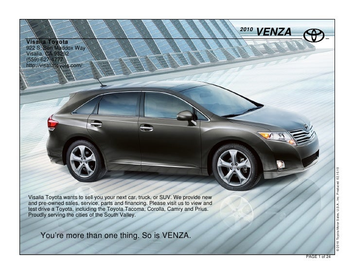 2010                                                                                         VENZA Visalia Toyota 922 S. B...