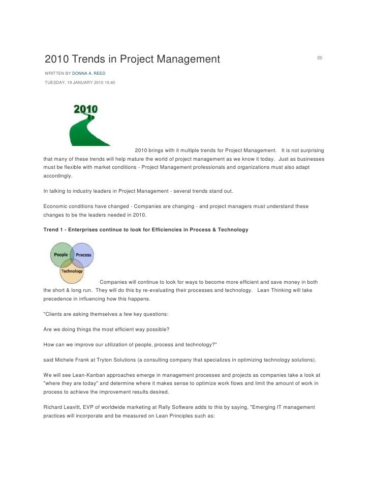 2010 Trends in Project ManagementWRITTEN BY DONNA A. REEDTUESDAY, 19 JANUARY 2010 10:40                                   ...