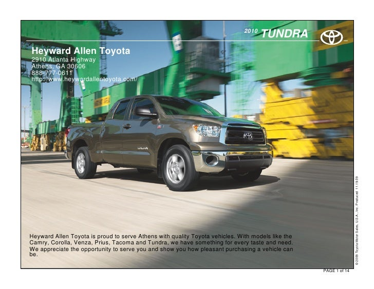 2010                                                                                      TUNDRA Heyward Allen Toyota 2910...