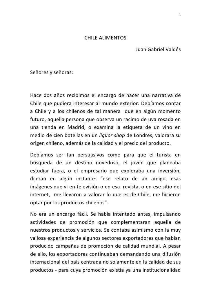 1                            CHILE ALIMENTOS                                                Juan Gabriel Valdés    Señores...