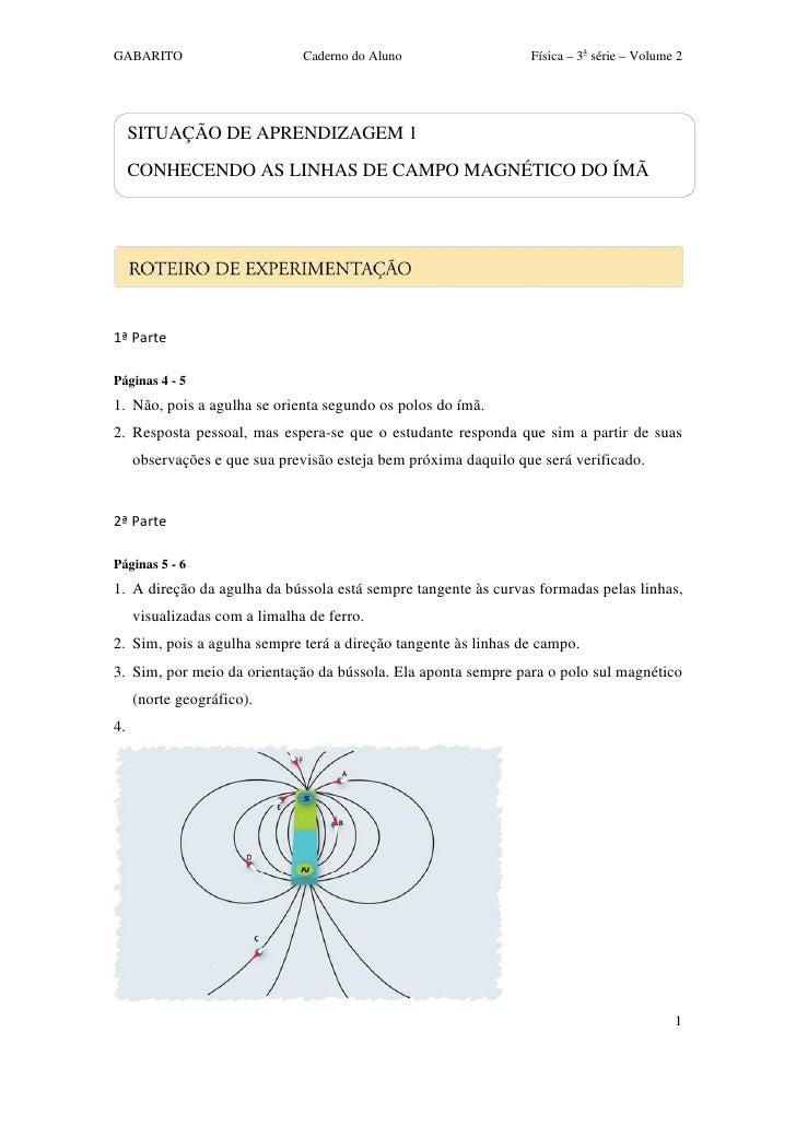 GABARITO                       Caderno do Aluno                  Física – 3a série – Volume 2     SITUAÇÃO DE APRENDIZAGEM...