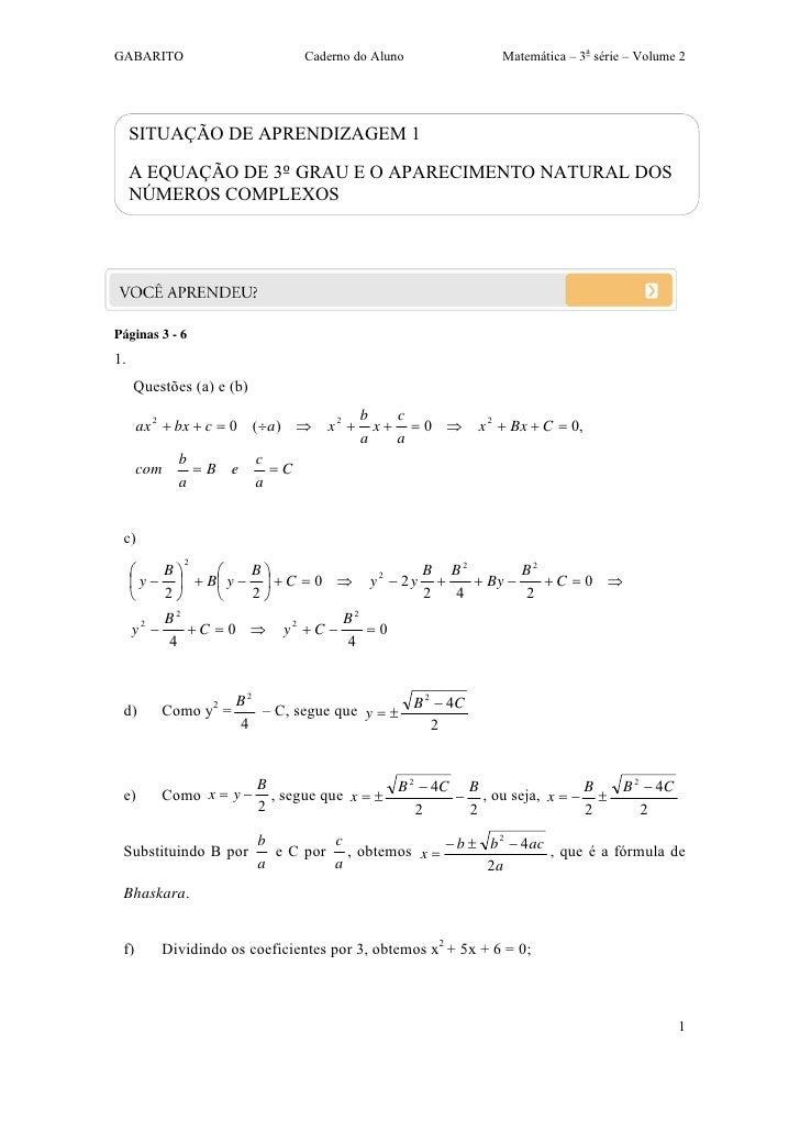 GABARITO                         Caderno do Aluno            Matemática – 3a série – Volume 2     SITUAÇÃO DE APRENDIZAGEM...
