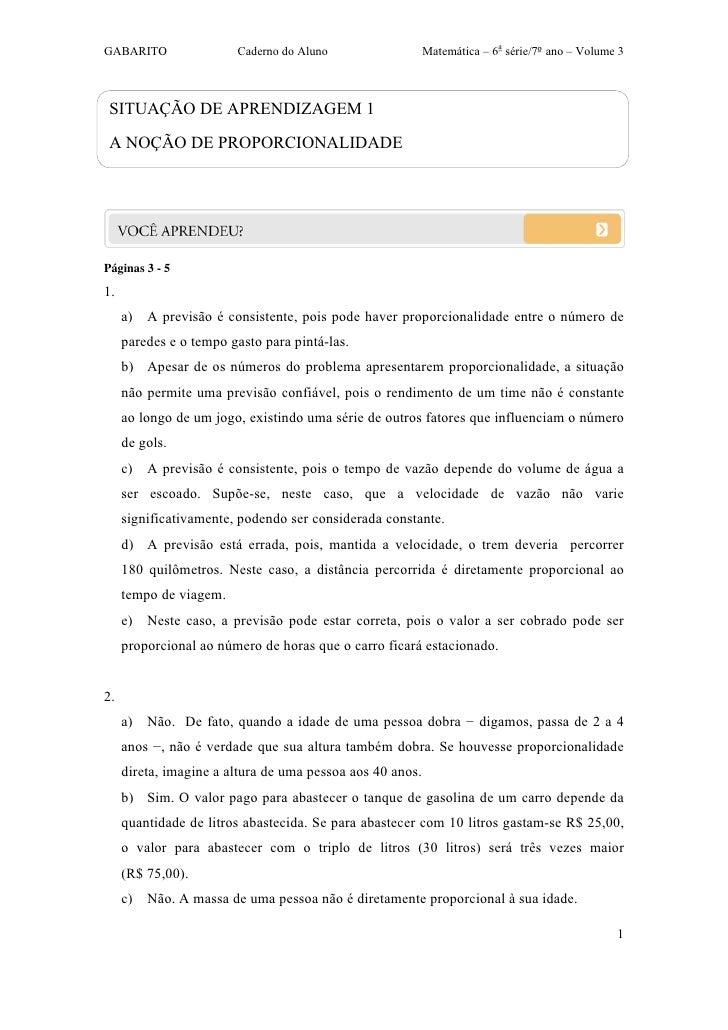 GABARITO                Caderno do Aluno                   Matemática – 6a série/7ºano – Volume 3 SITUAÇÃO DE APRENDIZAGE...
