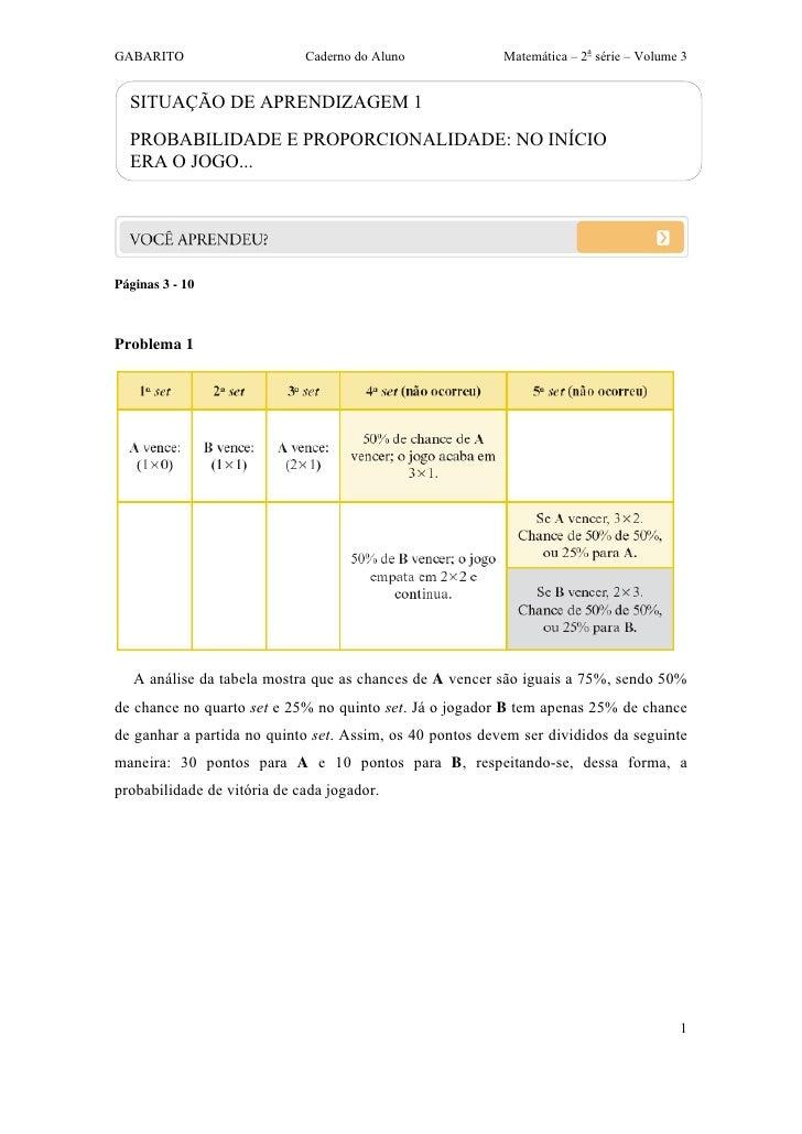 GABARITO                     Caderno do Aluno             Matemática – 2a série – Volume 3  SITUAÇÃO DE APRENDIZAGEM 1  PR...