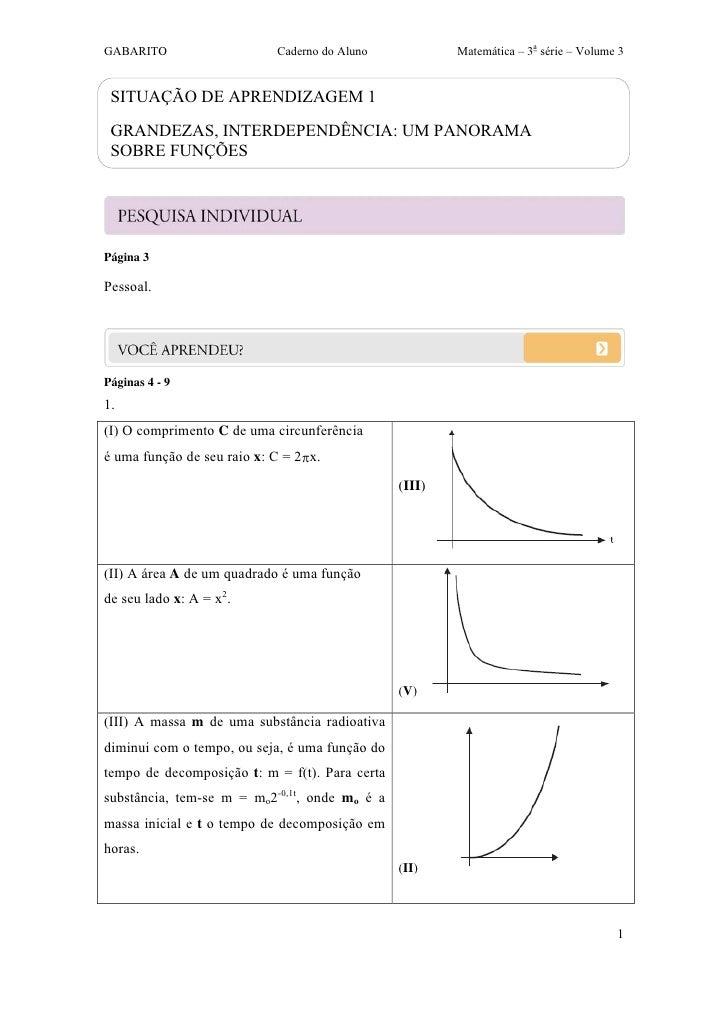 GABARITO                    Caderno do Aluno            Matemática – 3a série – Volume 3 SITUAÇÃO DE APRENDIZAGEM 1 GRANDE...
