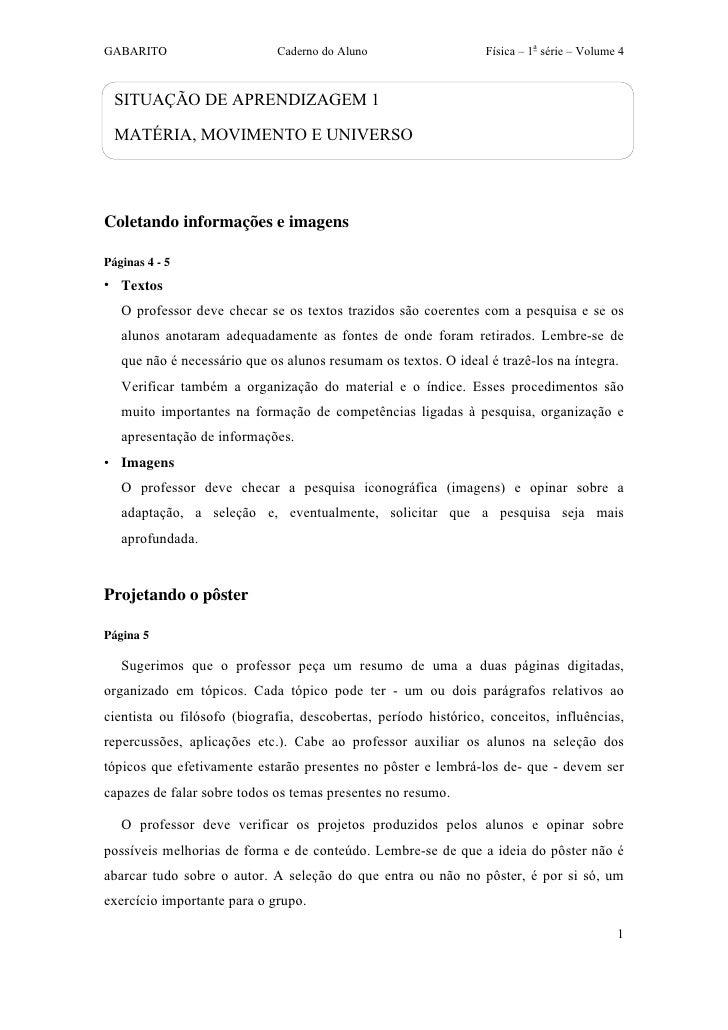 GABARITO                     Caderno do Aluno                    Física – 1a série – Volume 4  SITUAÇÃO DE APRENDIZAGEM 1 ...