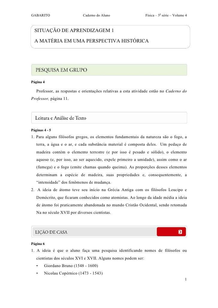 GABARITO                     Caderno do Aluno                   Física – 3a série – Volume 4  SITUAÇÃO DE APRENDIZAGEM 1  ...