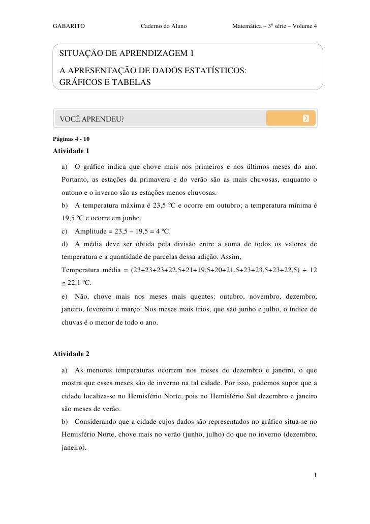 GABARITO                     Caderno do Aluno              Matemática – 3a série – Volume 4  SITUAÇÃO DE APRENDIZAGEM 1  A...