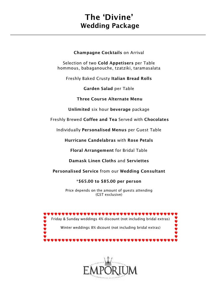 The 'Divine'                 Wedding Package               Champagne Cocktails on Arrival       Selection of two Cold Appe...