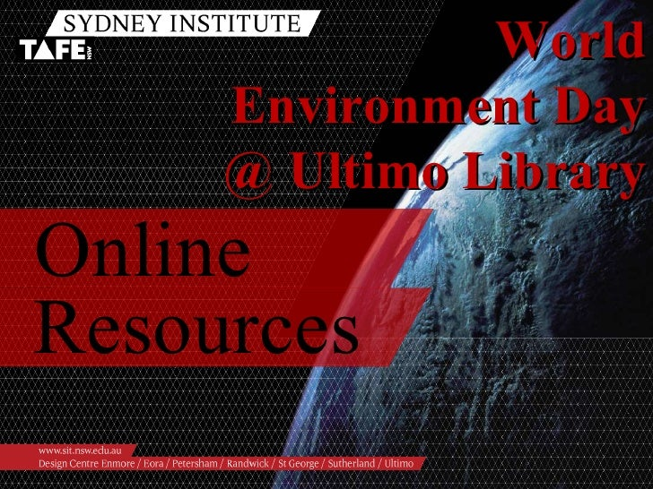 Online Resources World Environment Day @ Ultimo Library