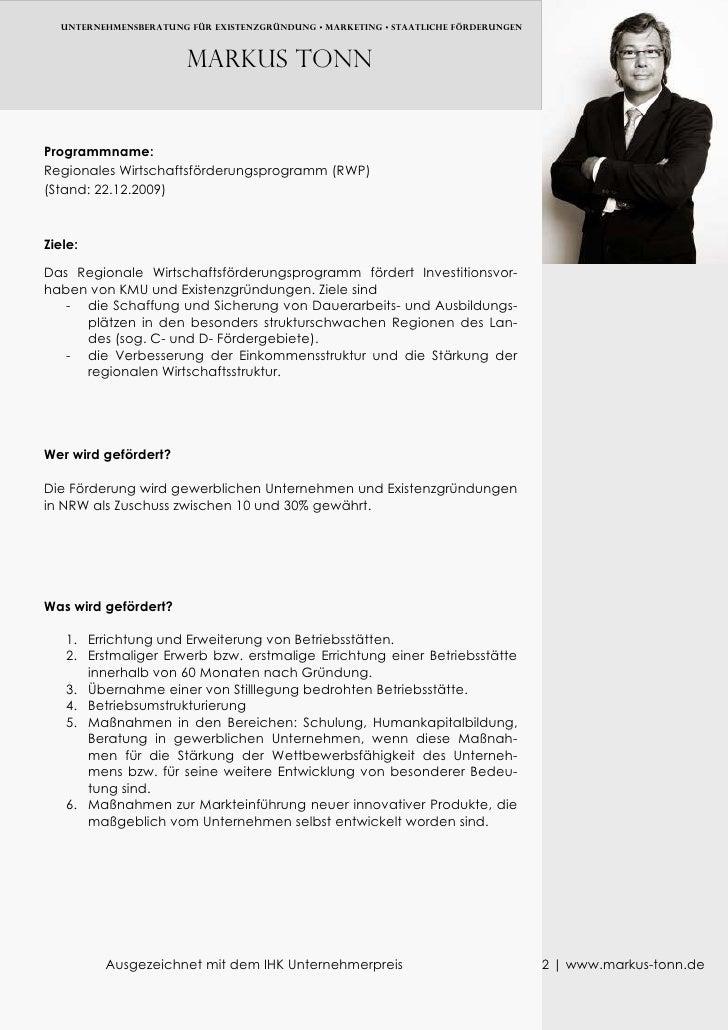 UNTERNEHMENSBERATUNG FÜR EXISTENZGRÜNDUNG • MARKETING • Staatliche FÖRDERUNGEN                            Markus TONN   Pr...