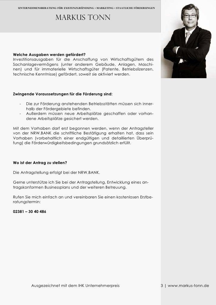 UNTERNEHMENSBERATUNG FÜR EXISTENZGRÜNDUNG • MARKETING • Staatliche FÖRDERUNGEN                           Markus TONN    We...