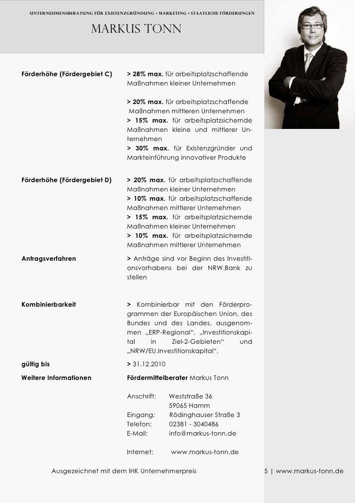 UNTERNEHMENSBERATUNG FÜR EXISTENZGRÜNDUNG • MARKETING • Staatliche FÖRDERUNGEN                            Markus TONN   Fö...