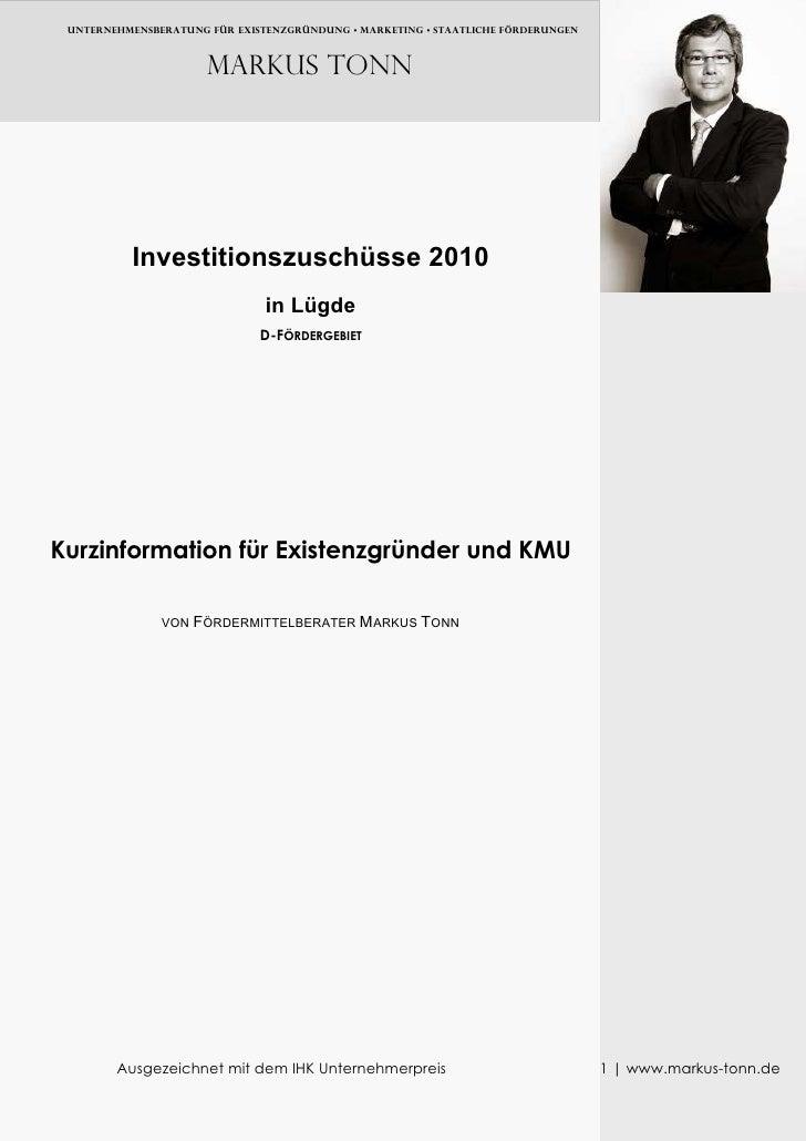 UNTERNEHMENSBERATUNG FÜR EXISTENZGRÜNDUNG • MARKETING • Staatliche FÖRDERUNGEN                          Markus TONN       ...