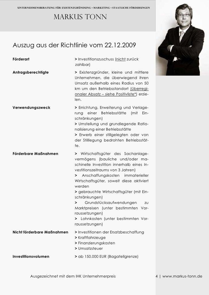 UNTERNEHMENSBERATUNG FÜR EXISTENZGRÜNDUNG • MARKETING • Staatliche FÖRDERUNGEN                           Markus TONN   Aus...
