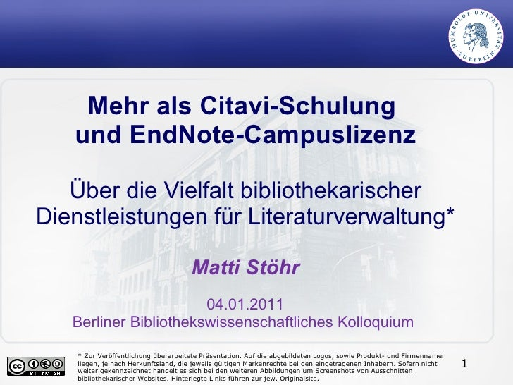 Mehr als Citavi-Schulung    und EndNote-Campuslizenz     Über die Vielfalt bibliothekarischer Dienstleistungen für Literat...