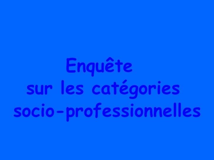 Enquête  sur les catégories  socio-professionnelles