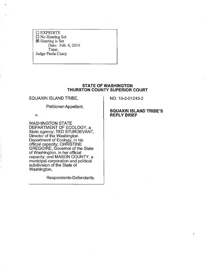 Squaxin Island Tribe v. Gregoire | Squaxin Island Tribe reply brief
