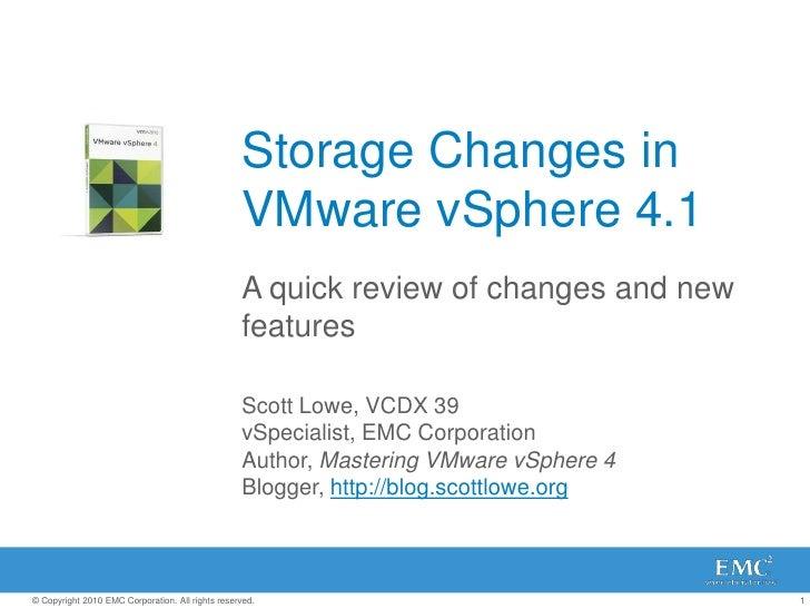 Storage Changes in VMware vSphere 4.1