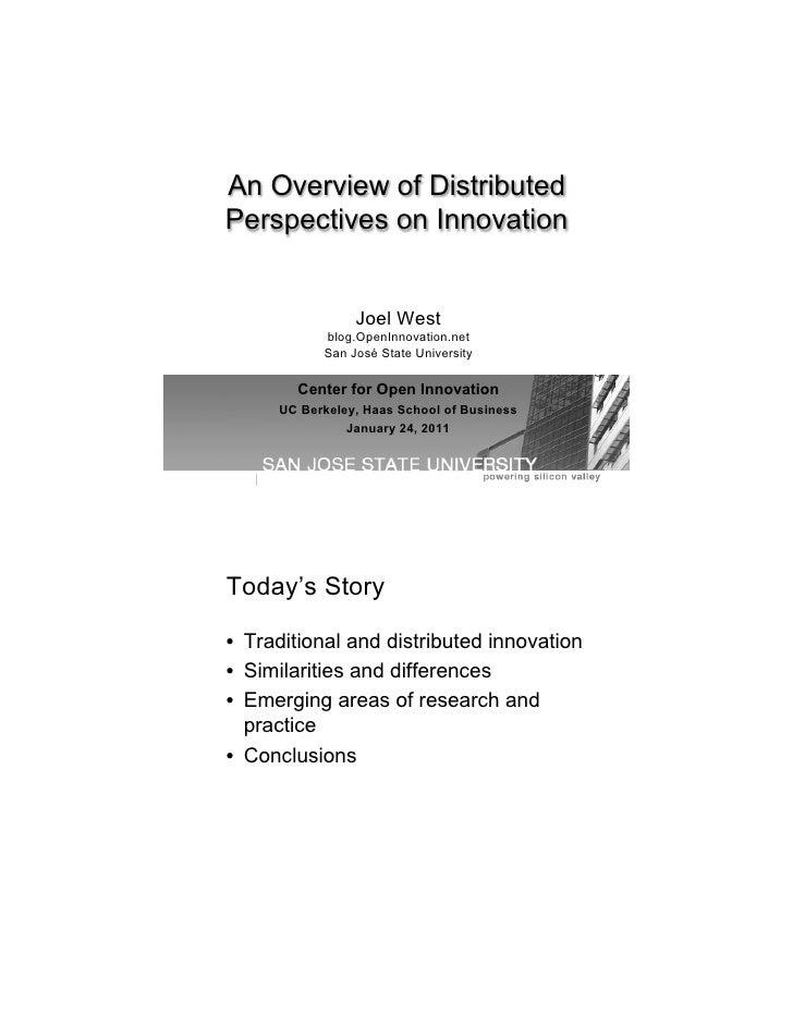 An Overview of DistributedPerspectives on Innovation                Joel West           blog.OpenInnovation.net           ...