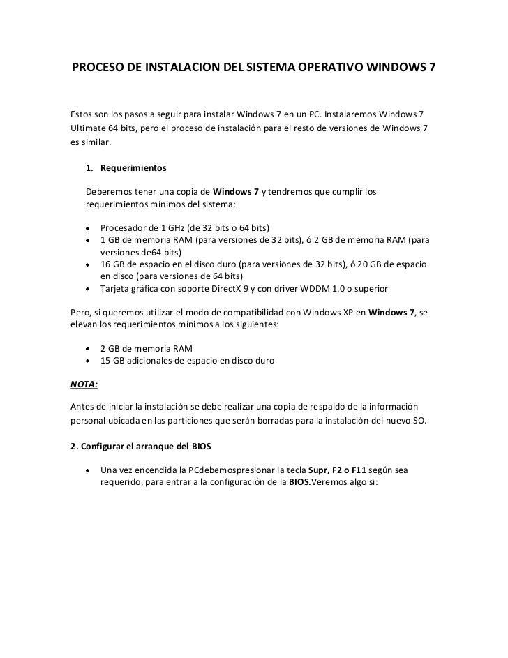 PROCESO DE INSTALACION DEL SISTEMA OPERATIVO WINDOWS 7<br />Estos son los pasos a seguir para instalar Windows 7 en un PC....