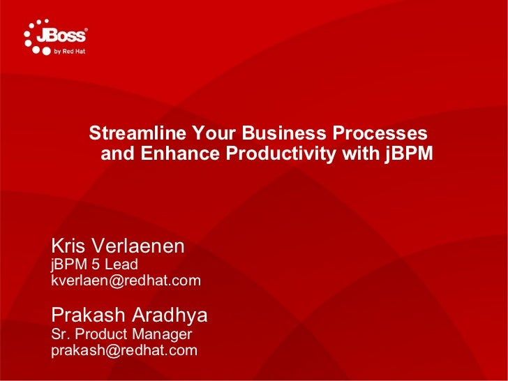 TITLE SLIDE: HEADLINE Presenter name Title, Red Hat Date   Streamline Your Business Processes  and Enhance Productivity wi...