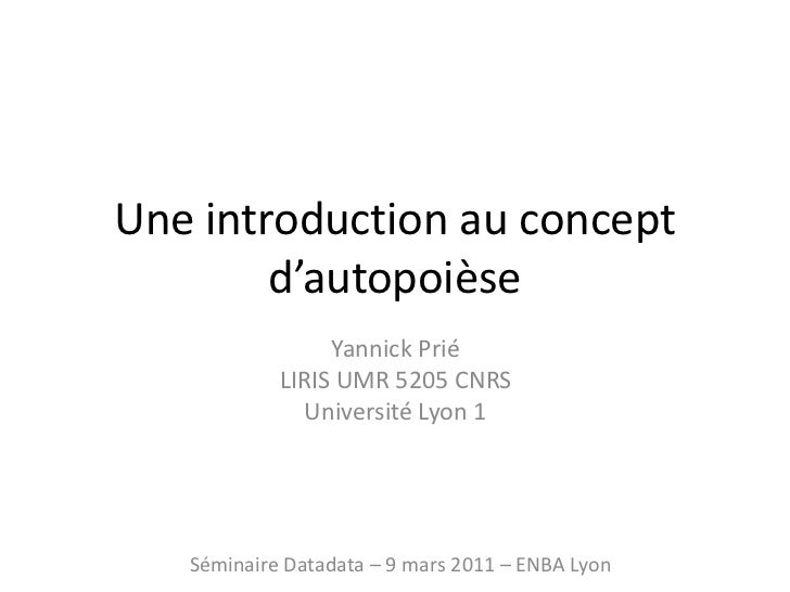 Une introduction au concept d'autopoièse