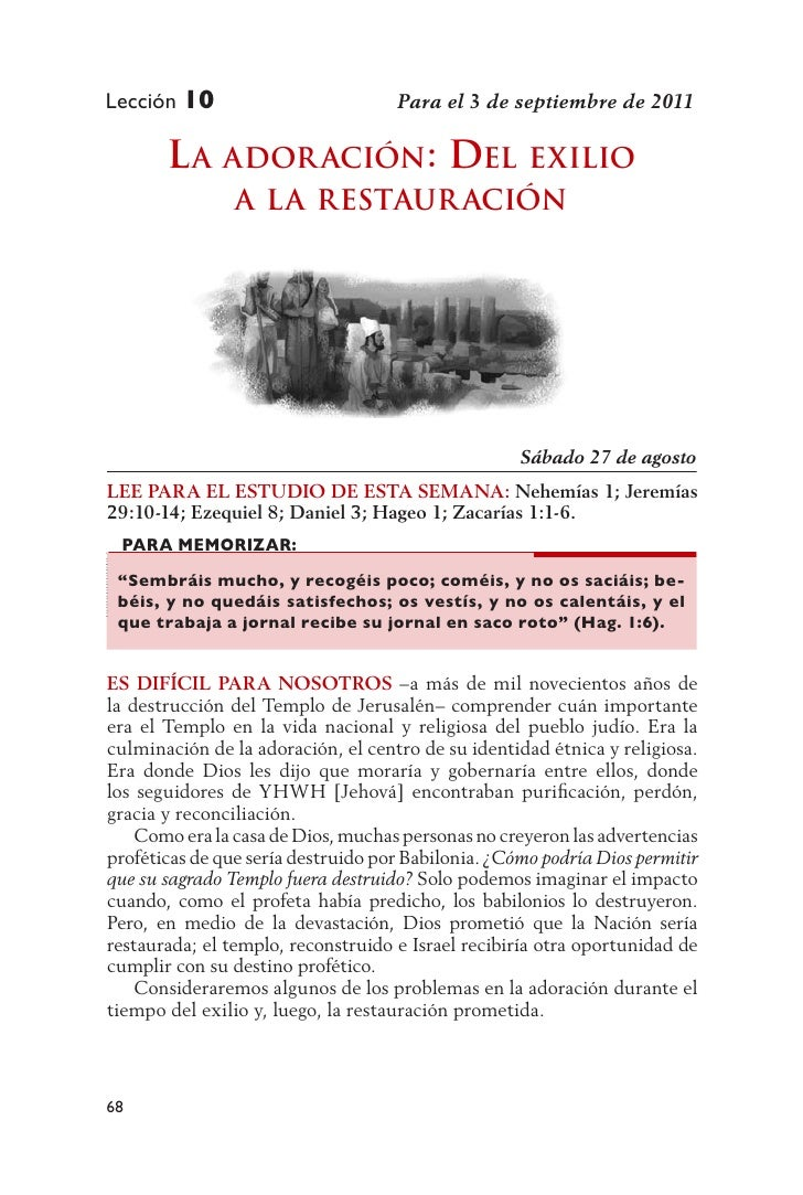 Lección 10                          Para el 3 de septiembre de 2011       L a ador ación: deL exiLio                a La r...