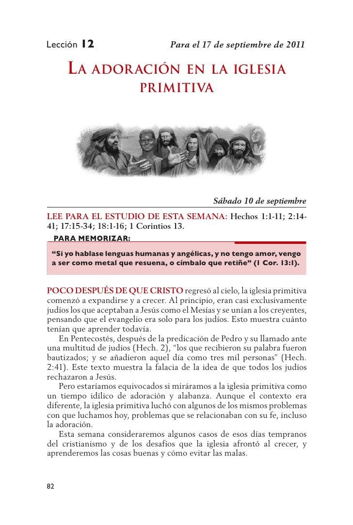 Lección 12                         Para el 17 de septiembre de 2011     L a ador ación            en La iGLesia           ...