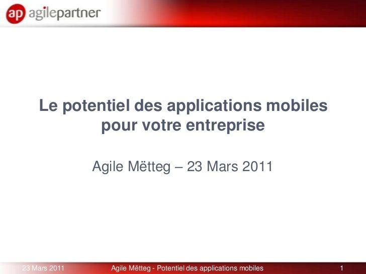 Le potentiel des applications mobilespour votre entreprise<br />Agile Mëtteg – 23 Mars 2011<br />23 Mars 2011<br />1<br />...