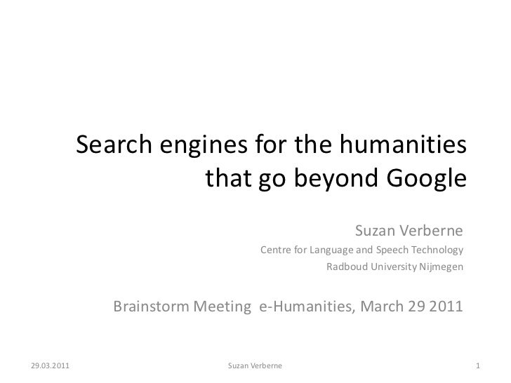 Search engines for the humanities that go beyond Google