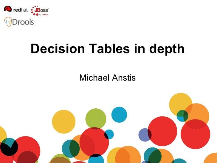 Michael Anstis Decision Tables in depth